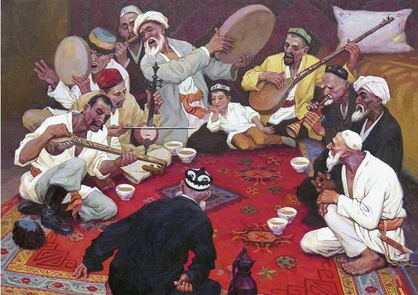 """""""夕阳西下,手鼓,热瓦普(新疆民族乐器)的合奏在塔克拉玛干沙漠西陲的"""