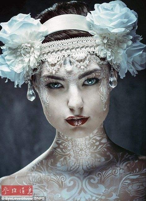 人体艺妓美�_未来人体彩绘:艺妓,新娘和女神款都有