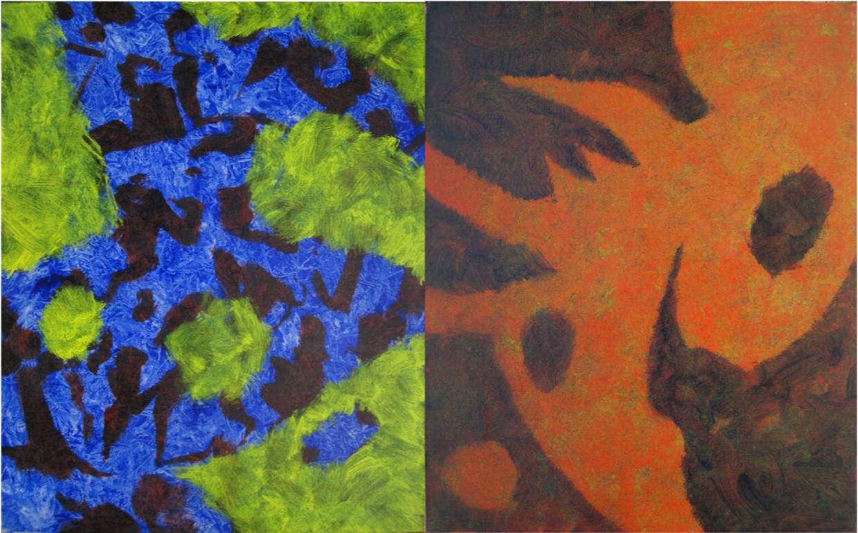布面油画《色境双联画》