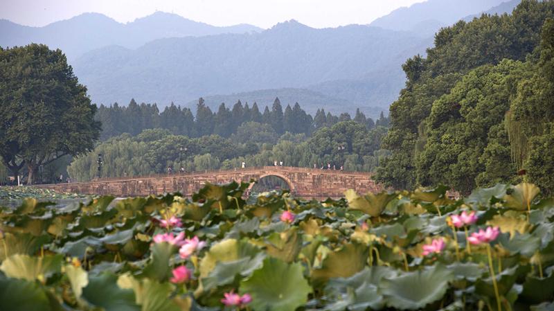 8月25日,杭州西湖清晨朝阳。新华社记者 鞠焕宗 摄
