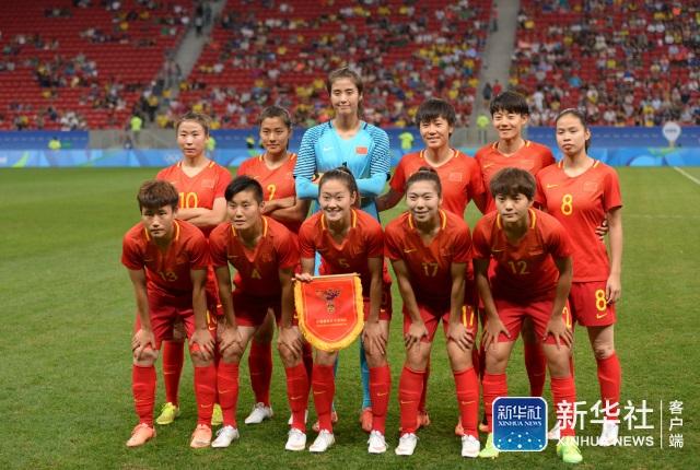 中国队首发阵容。 当日,在2016年里约奥运会女子足球小组赛E组比赛中,中国队对阵瑞典队。 新华社记者殷博古摄