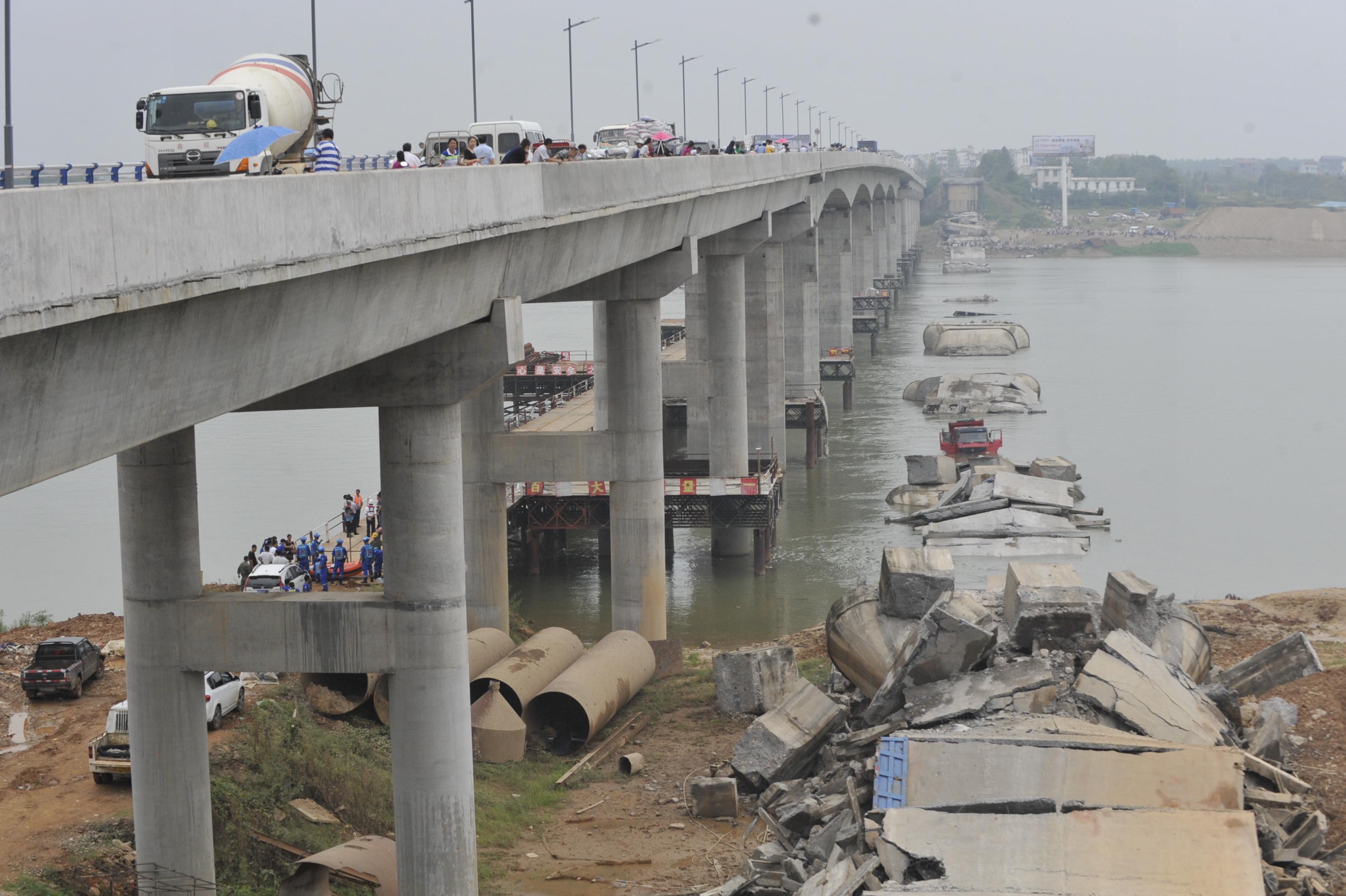 桥体坍塌事故现场(9月11日摄)。新华社记者 胡晨欢 摄。