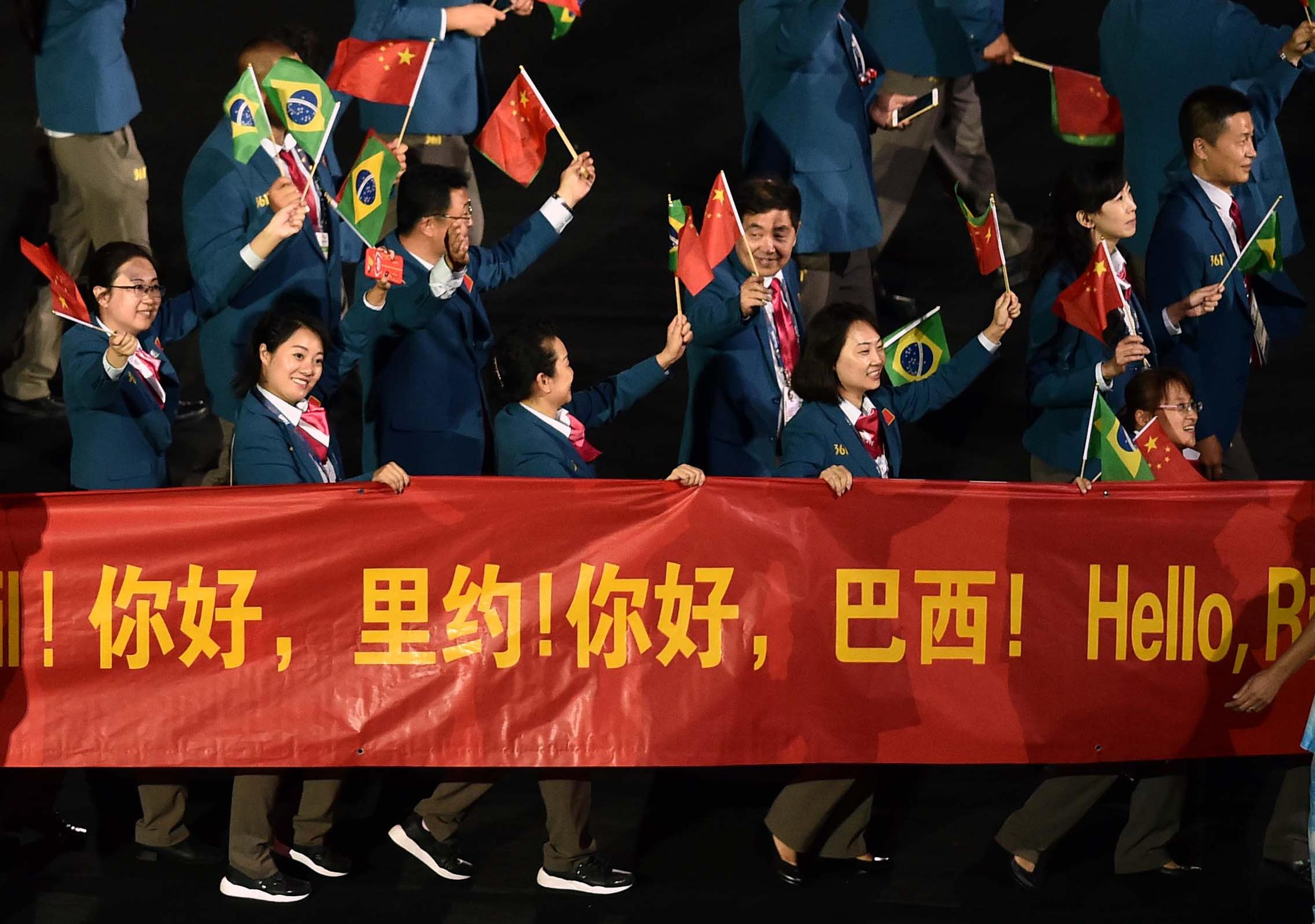 中国体育代表团在开幕式上入场↑新华社记者朱峥摄