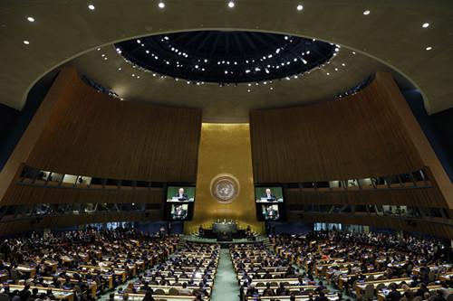 10月13日,在位于纽约的联合国总部,安东尼奥·古特雷斯被任命为下一任联合国秘书长。 (新华社记者李木子摄)