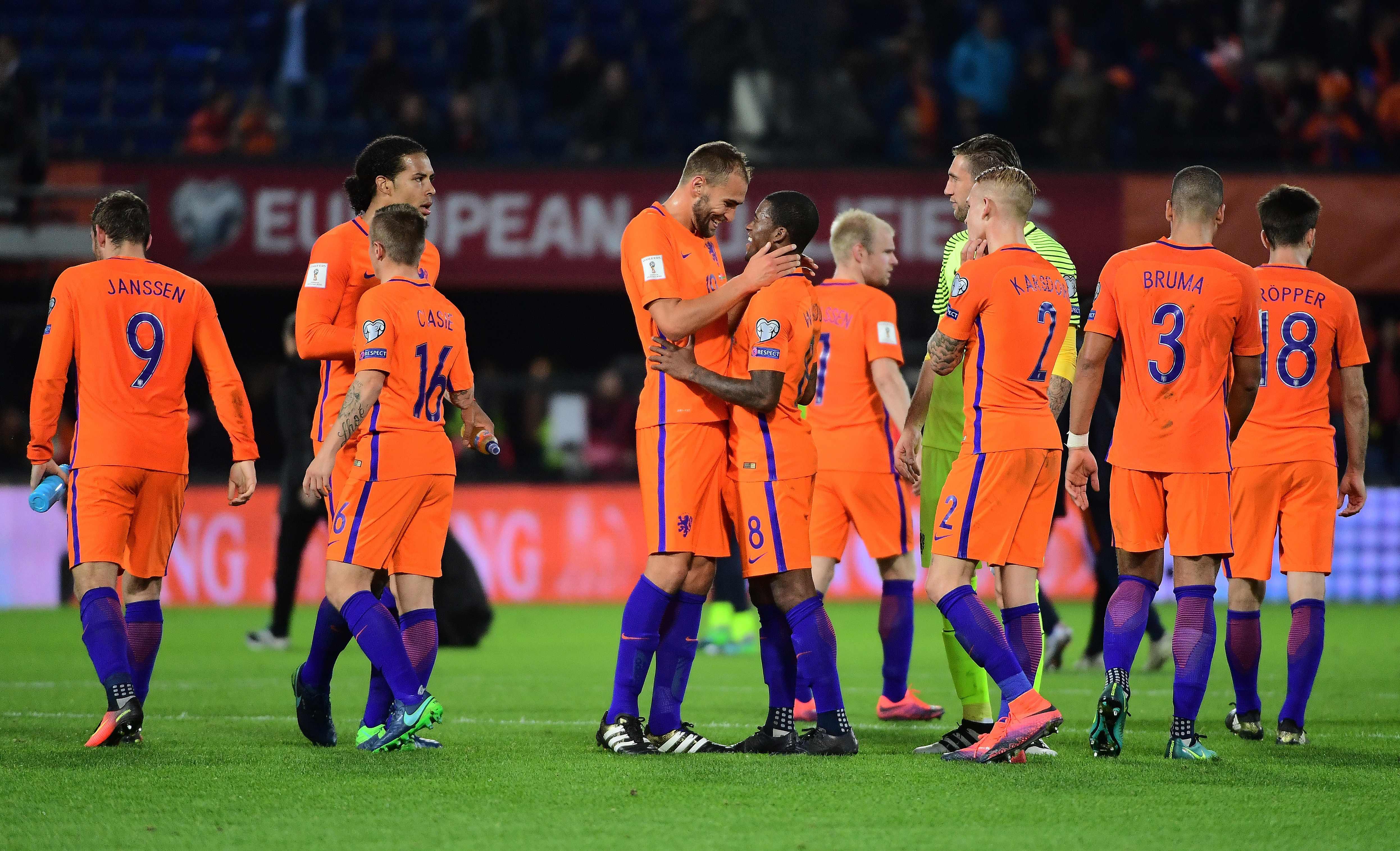 荷兰队球员在比赛后庆祝胜利
