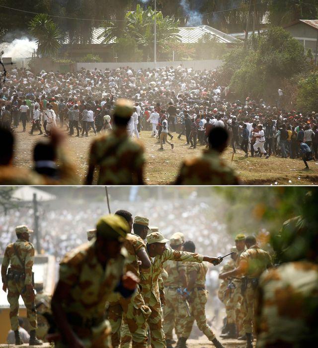 警察驱散抗议者时,集会现场发生踩踏。(图片来源:新华/路透)