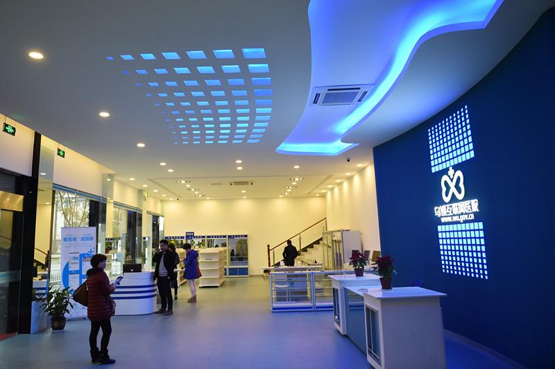 居民在刚开业的乌镇互联网医院的大堂了解情况(2015年12月9日摄)。新华社记者 黄宗治 摄