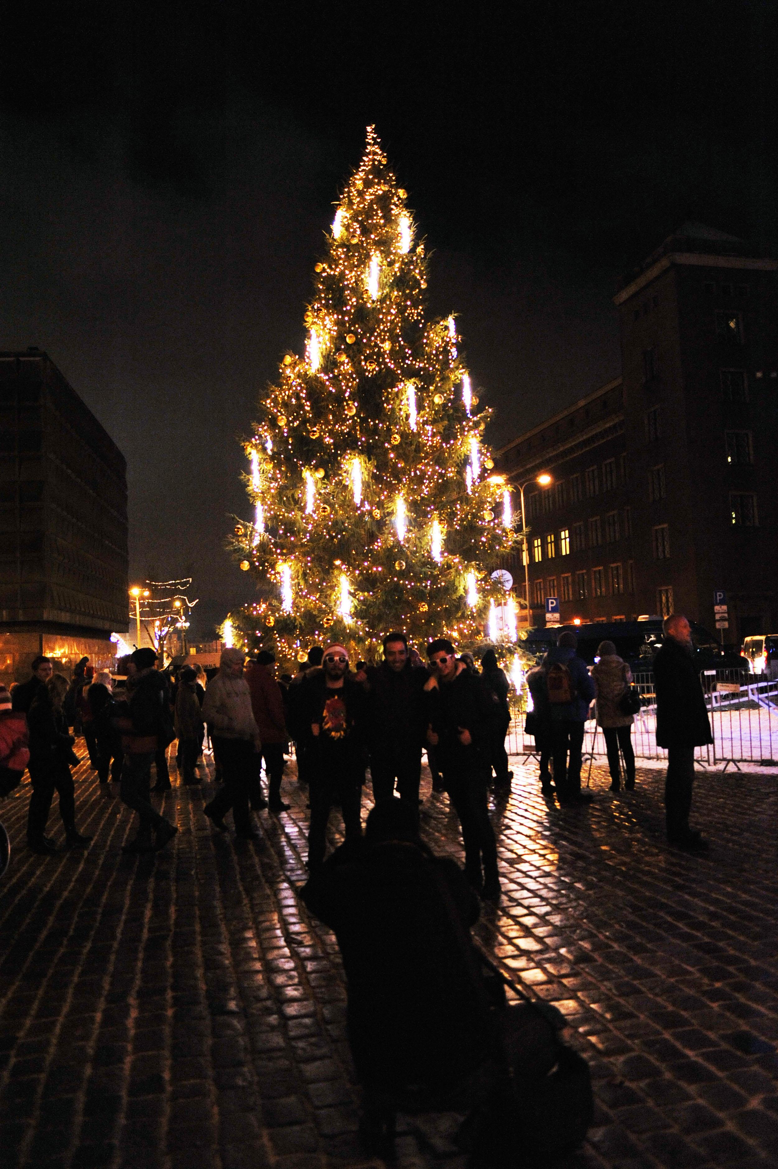 在拉脱维亚首都里加市政厅广场,人们在以戈德堡机械方式点亮的圣诞树前合影留念。(新华社记者郭群摄)