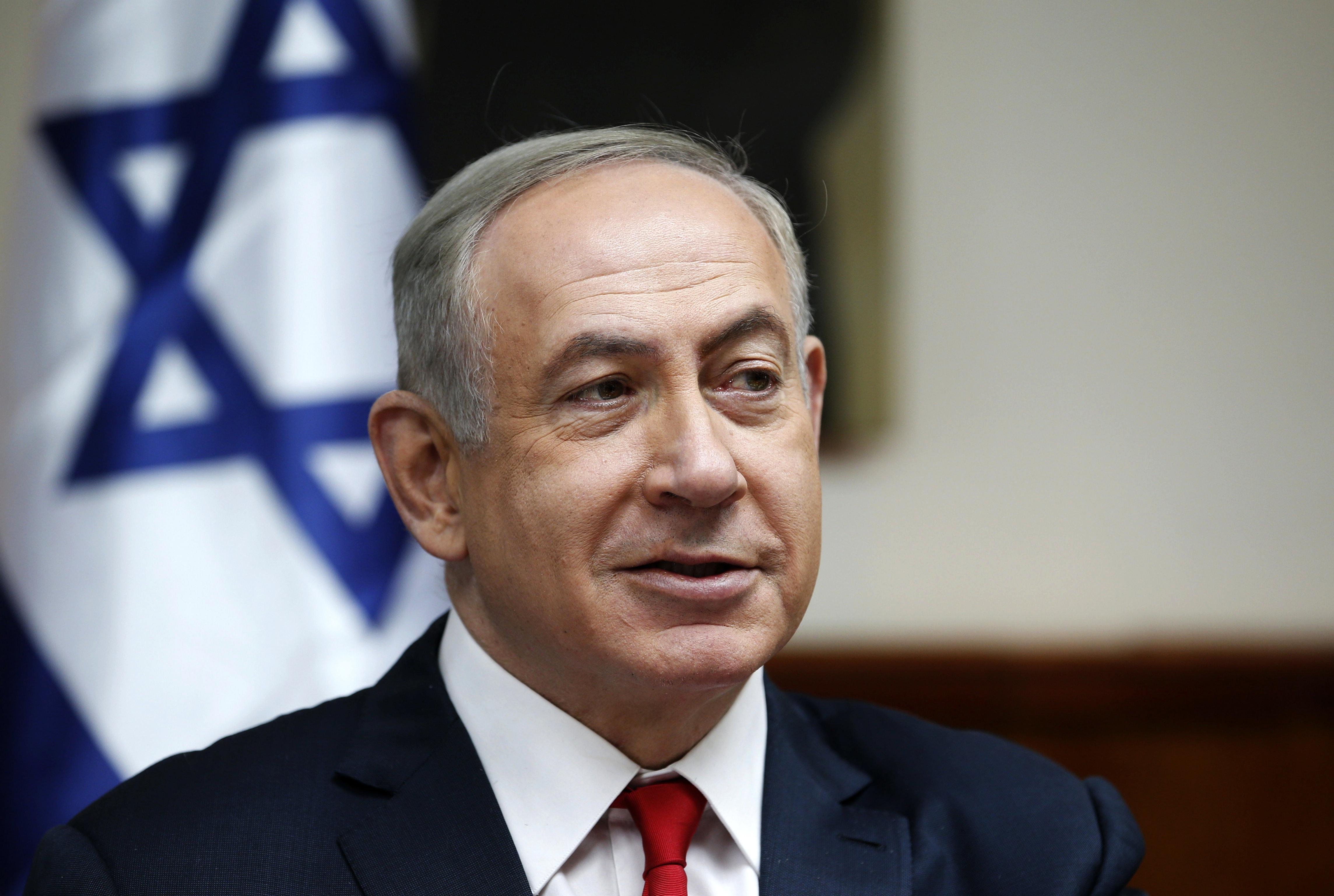 1月22日,以色列总理内塔尼亚胡在耶路撒冷出席内阁会议。(新华社/美联)
