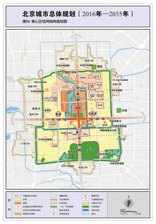核心区空间结构规划图.图片摘自《北京城市总体规划(2016年-2035年)》