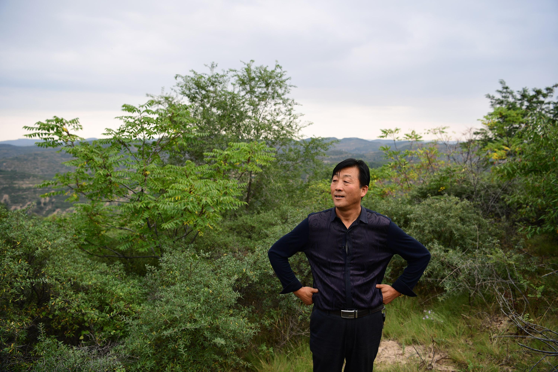 闫志雄在延安市吴起县南沟村的山坡上远眺一片绿色的山林.