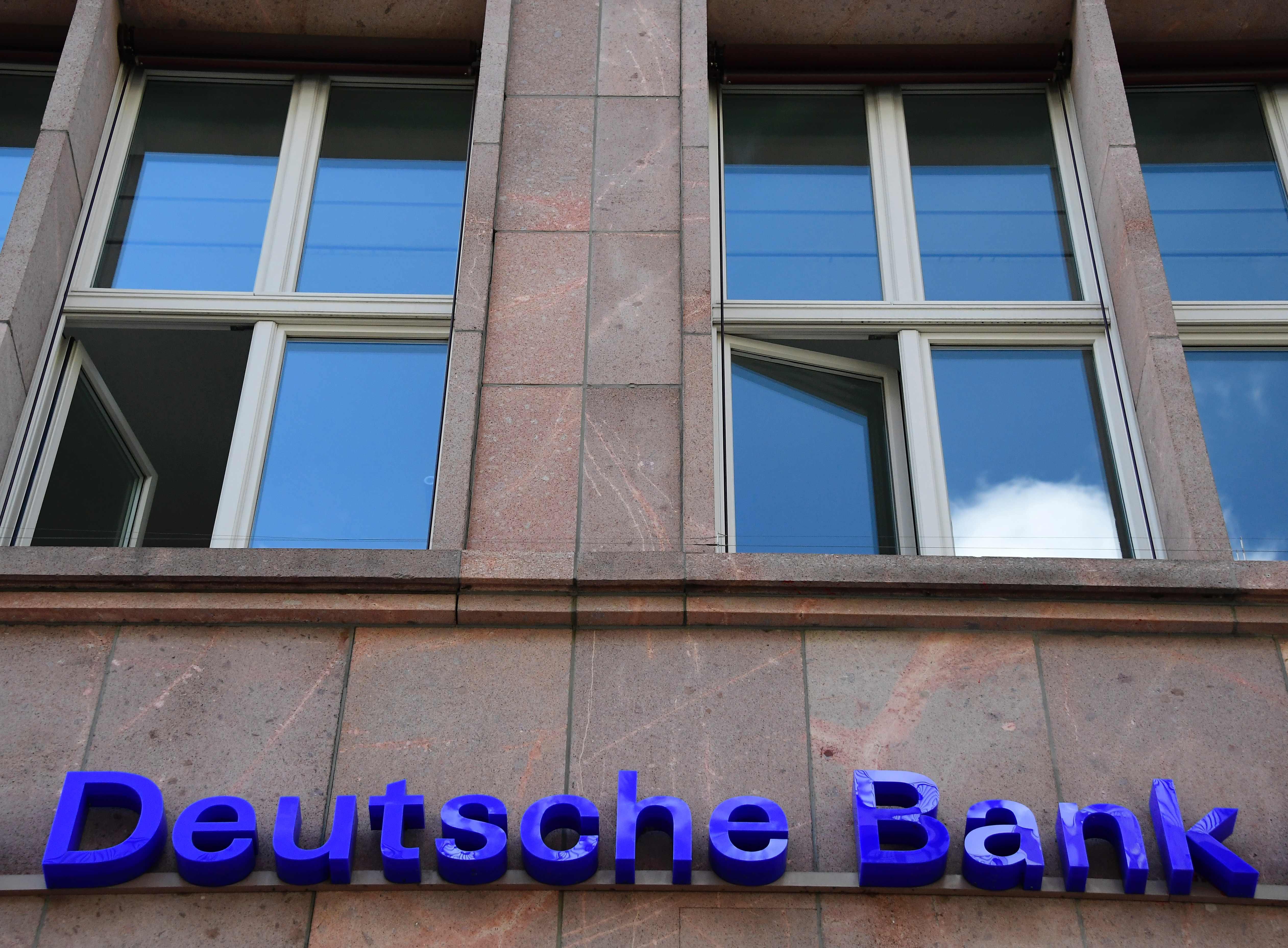 图为德意志银行。(新华社)