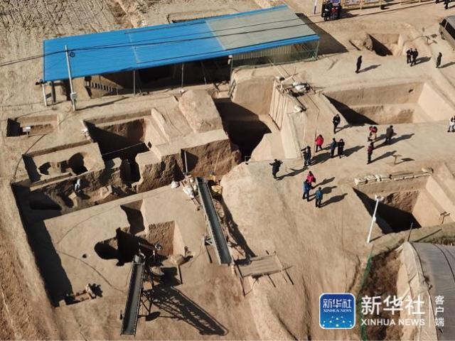 从空中俯瞰的宁夏彭阳县姚河塬商周遗址。新华社记者 李然 摄