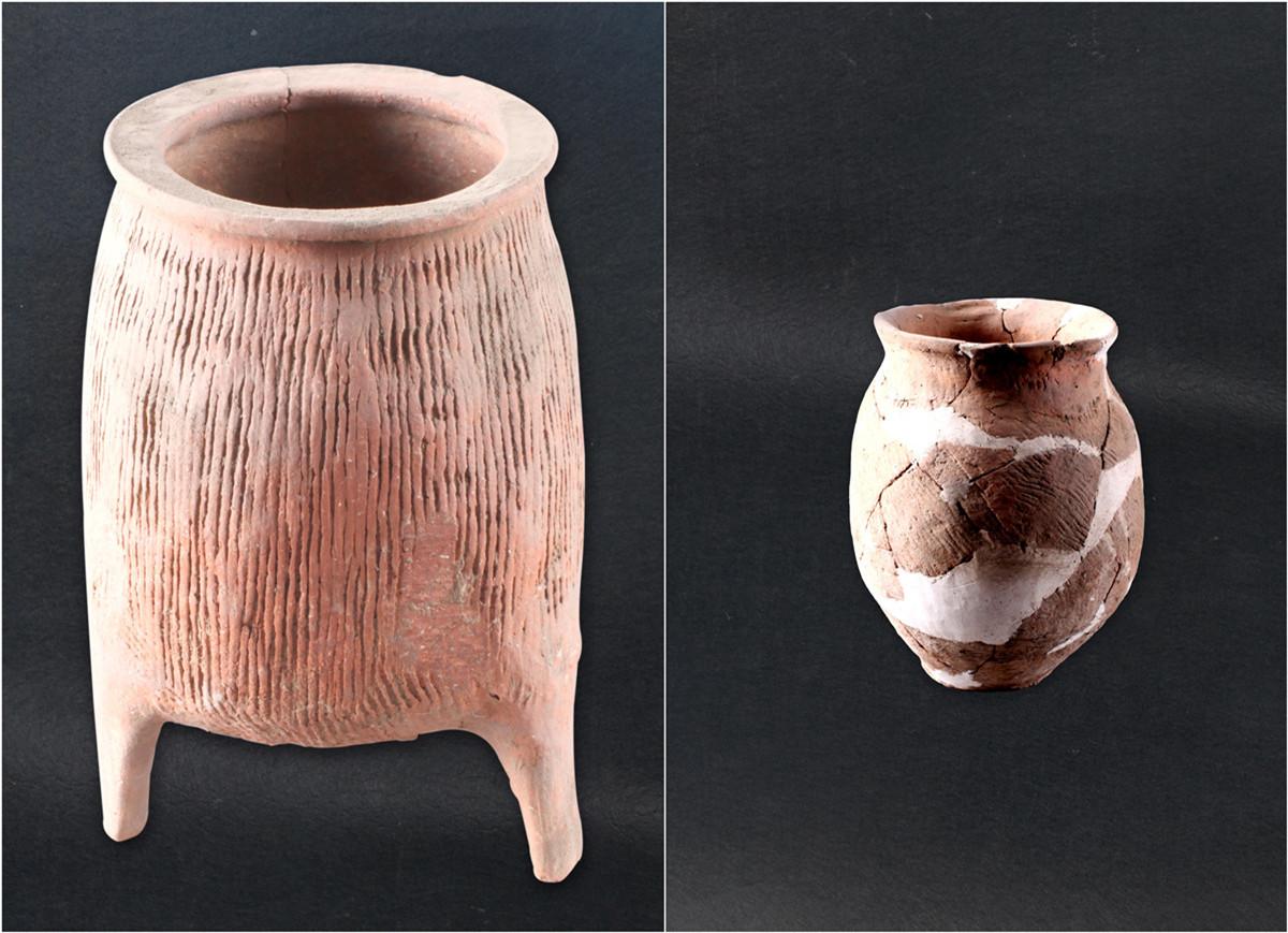雄安新区新石器时代遗存出土的陶鬲、陶罐。 河北省文物研究所供图