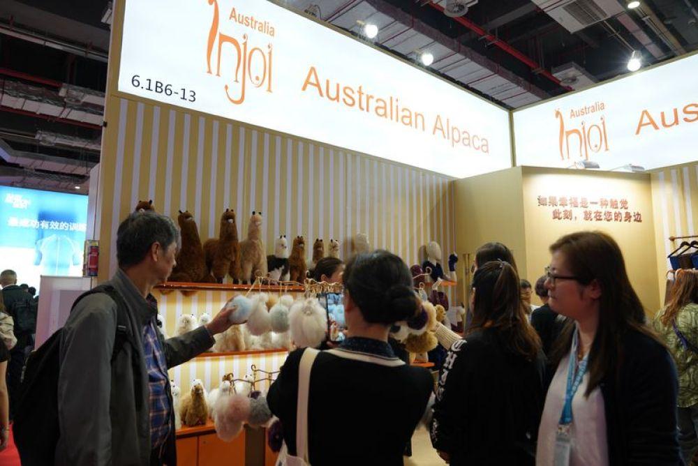 11月9日,澳大利亚INJOI羊驼饰品展台吸引了多多参不悦目者。新华社记者 陈倩 摄
