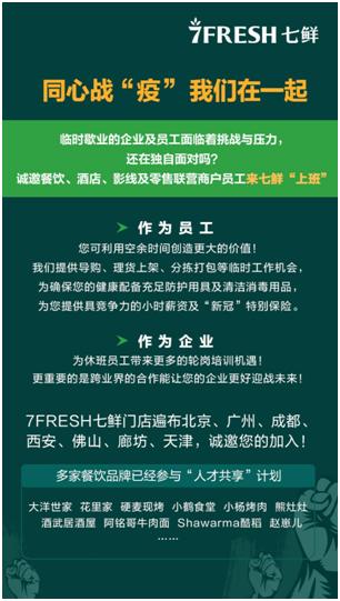 京东7FRESH全国招募临时员工,为疫情阴霾下的服务业减负