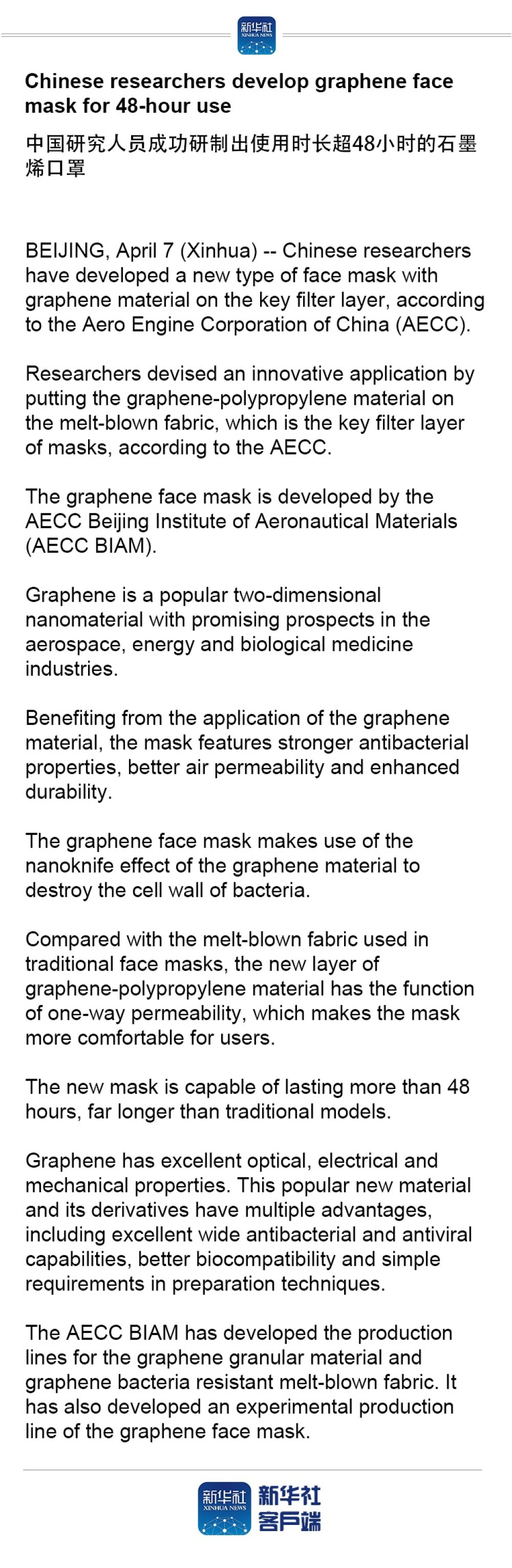 Chinese researchers develop graphene face mask for 48-hour use